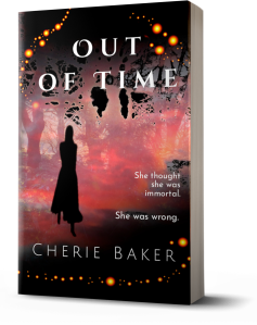 Cover image of mysterious figure walking out of red mist for the paranormal novel Out of Time