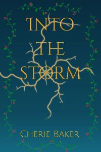 Graduated blue with illustrated vines and stylized lightening bolts. Cover of Into the Storm, book three in The Timeless Doctor Scott Series